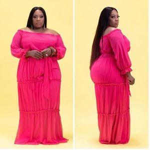 Dresses & Skirts - Plus Size Off Shoulder Sheer Tiered Black Dress 18